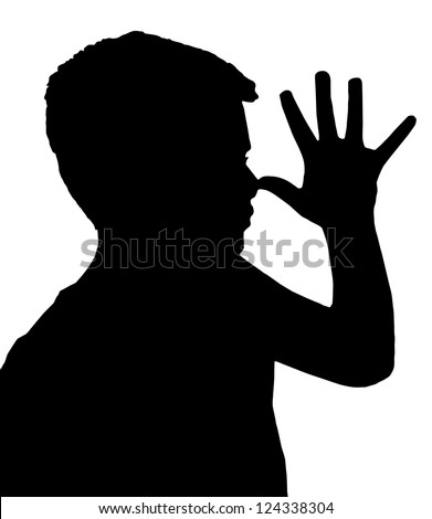 Isolated Silhouetted Boy Child Gesture and Activity Teasing - stock vector