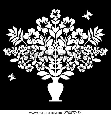 Isolated silhouettes of flowers in vase. Black and White color. Vector illustration - stock vector