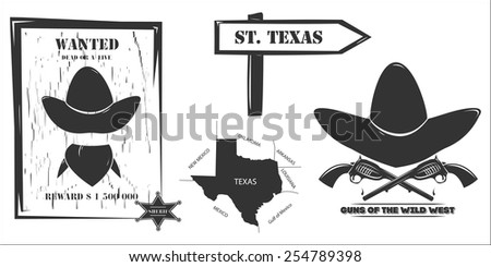 Isolated silhouettes of Texas and the Wild West. Western, Wanted dead or a live. Revolver cowboy - stock vector