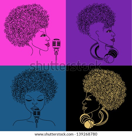 Isolated singer icon with musical notes hair on the bright colorful background - stock vector