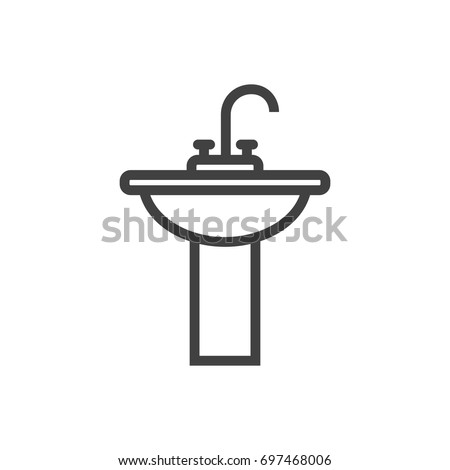 Isolated Sink Outline Symbol On Clean Background. Vector Washbasin Element  In Trendy Style.