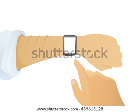 isolated smart watch with white screen on male hand. first person flat vector. cartoon smart watch design. smartwatch isolated illustration. modern gadget smart watch with hands on white background. - stock vector