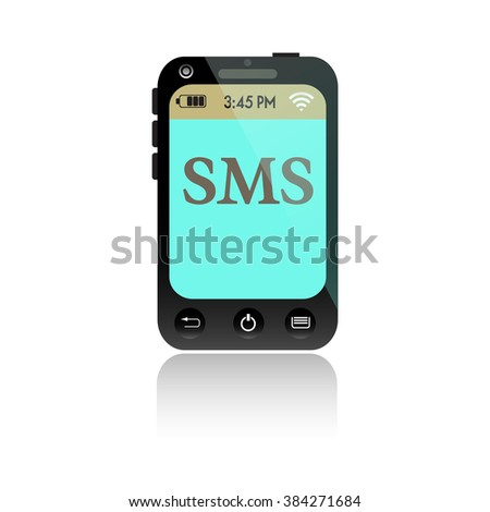 Isolated smartphone with the letters SMS written on its screen. Short message service concept - stock vector