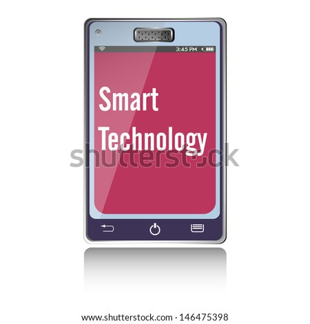 Isolated smartphone with the text smart technology written on its screen