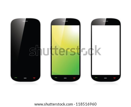 Isolated smartphone with three display variables vector eps10 - stock vector