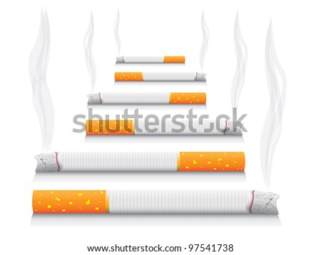 isolated smoking cigarettes - detailed realistic illustration - stock vector