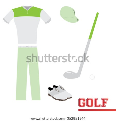 Isolated sport uniform and some golf elements