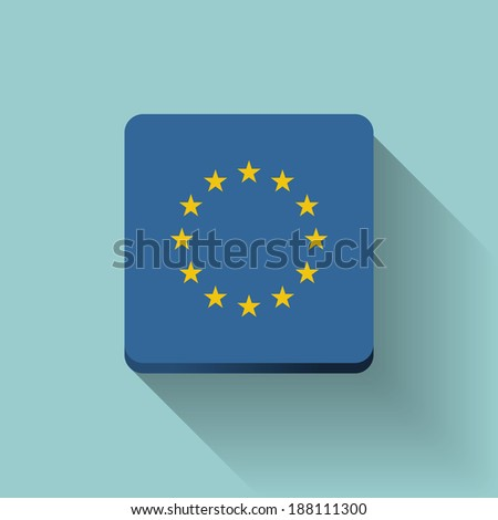 Isolated square button with flag of European Union. Flat design. - stock vector