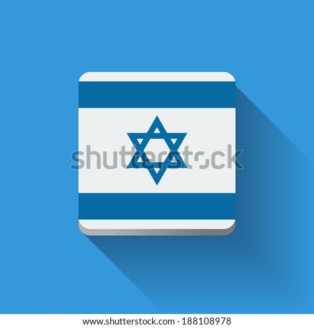 Isolated square button with national flag of Israel. Flat design. - stock vector