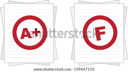 Isolated stacked paper graded with A plus and F  - stock vector