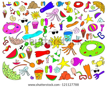 isolated summer beach stuff for kids on a white background - stock vector