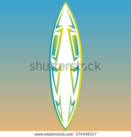Isolated surfboard on a colored background. Vector illustration