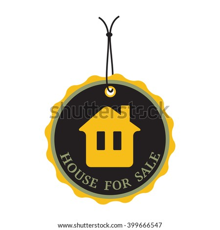 Isolated tag with the text house for sale written on the tag
