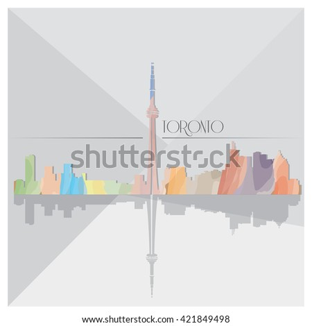 Isolated textured cityscape of Toronto on a grey background - stock vector