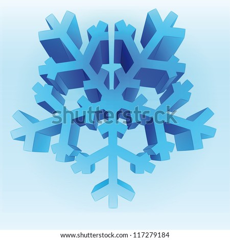 isolated three dimensional blue snowflake vector template - stock vector