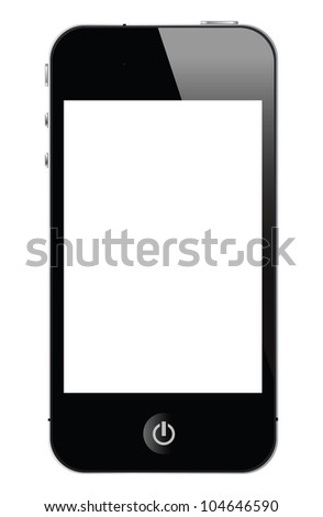 isolated touch screen smartphone, vector with white screen. - stock vector