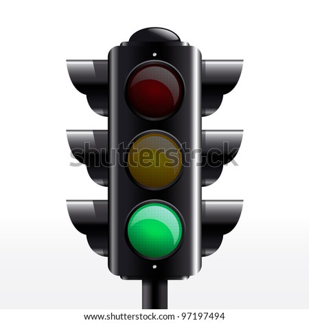 Isolated traffic light green vector