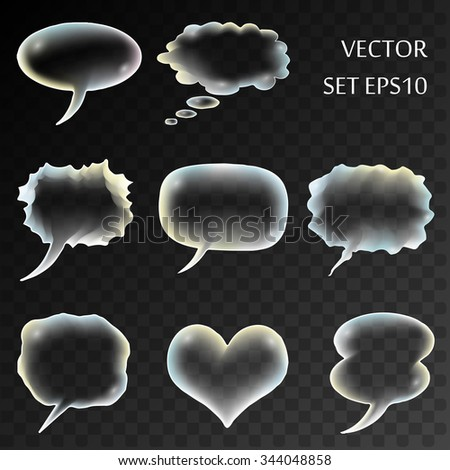 Isolated transparent comics bubble. Vector set for design