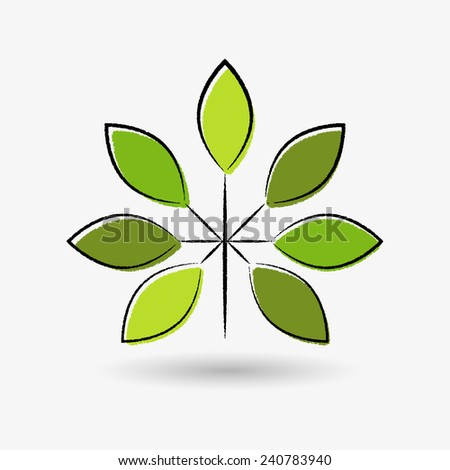 Isolated tree branch, stylized as typographic print, with green leaves. Can be used as logotype. - stock vector