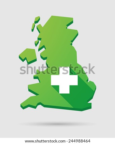 Isolated United Kingdom map icon with a pharmacy sign - stock vector