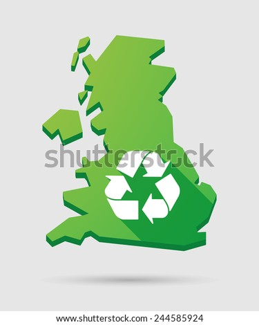 Isolated United Kingdom map icon with a recycle sign - stock vector
