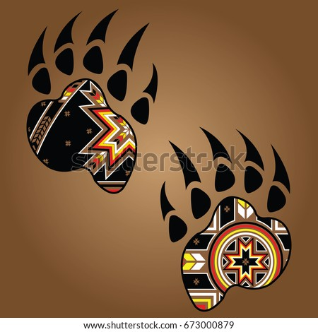 isolated vector bear paw native american stock vector