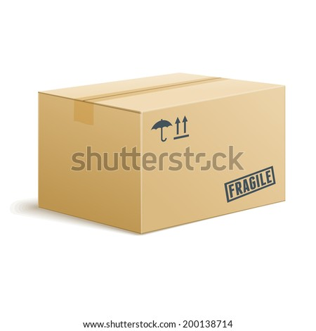 Isolated Vector Cardboard Box On Transparent Background