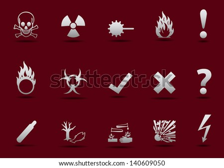 Isolated vector Danger sign collection with light gradient and shadow on red background - stock vector
