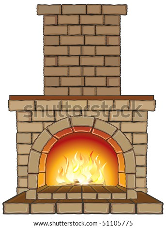 brick fireplace clipart. isolated vector fireplace with fireseparated elements brick clipart 1