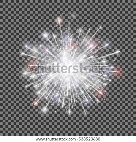 isolated vector fireworks on transparent background