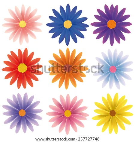 Isolated Vector Flower Collection. Set of nine gerber daisy flowers in various colors isolated on white vector illustration. - stock vector