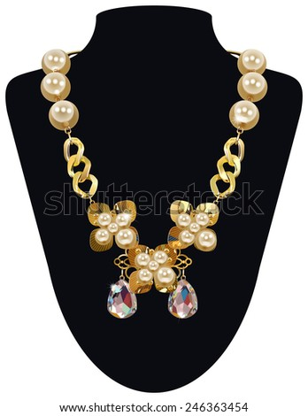 Isolated Vector Golden Necklace With Pearls , Eps10 Vector, Transparency Used, Raster Version Available - stock vector
