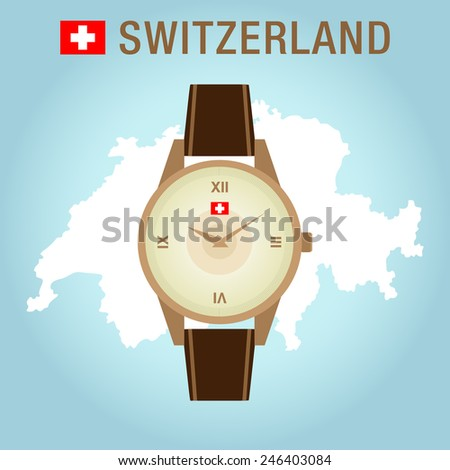 Isolated Vector Golden Wrist Watch with Leather Bracelet  - stock vector