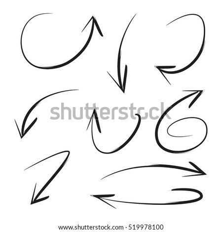 isolated vector hand drawn arrows set