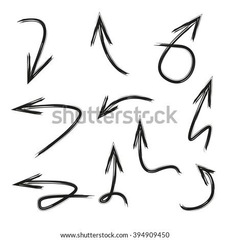 isolated vector hand drawn arrows set, arrow signs - stock vector
