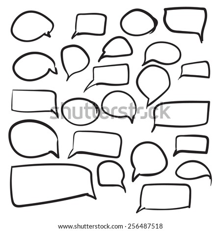 Isolated vector hand drawn cloud for dialogue set on a white background - stock vector