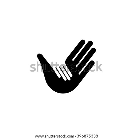 Isolated vector hands logo. Orphanage emblem. Family sign. Children care image. Adoption illustration. Child raising sing. Kindergarden icon. Charity for orphans. Help kids campaign. Racial issues.  - stock vector