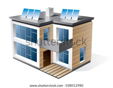 Isolated vector icon of modern family house with wood facade. Check my portfolio for more building types. - stock vector