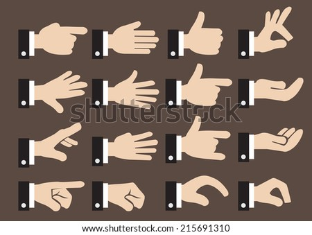Isolated vector icon set of hand signs and gestures of a businessman  - stock vector