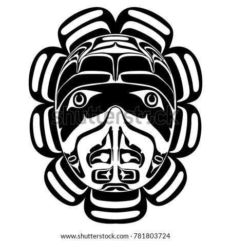 Isolated vector illustration. Black and white image of a folk totem hawk mask of Canadian Kwakiutl Indians.