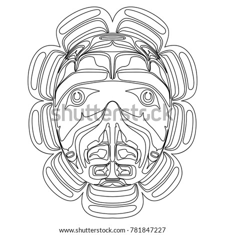 Isolated vector illustration. Black and white linear drawing of a folk totem hawk mask of Canadian Kwakiutl Indians.