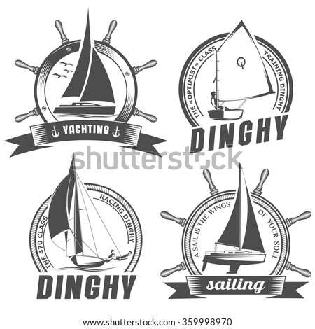 isolated vector illustration emblem with the image of yachts on a white background in vintage style / set of logos for sailing - stock vector