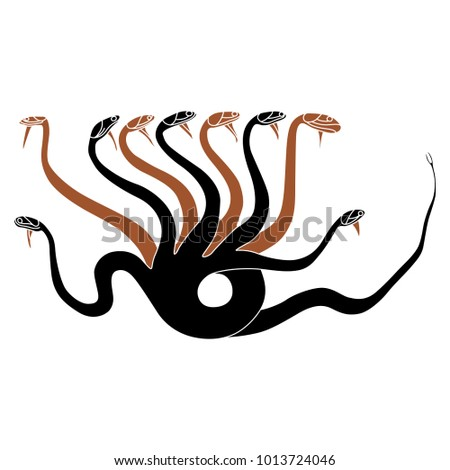 Isolated Vector Illustration Hydra Ancient Greek Stock Vector