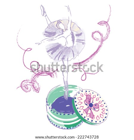 isolated vector illustration with pink and purple ballet dancer and casket - stock vector