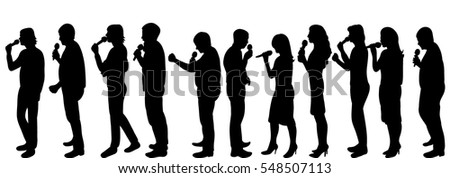 isolated vector image of silhouettes of people singing with a microphone, karaoke,set