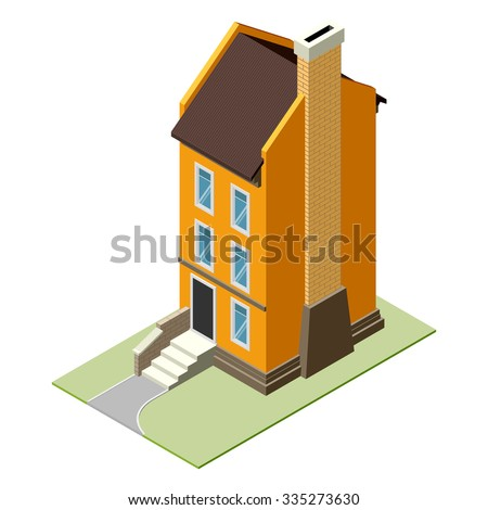 Isolated vector isomatic, small isometric house, isometric icon with backyard, isometric home, isometric town, isometric villa, isometric map, isometric house pictogram, isometric house facade. EPS10