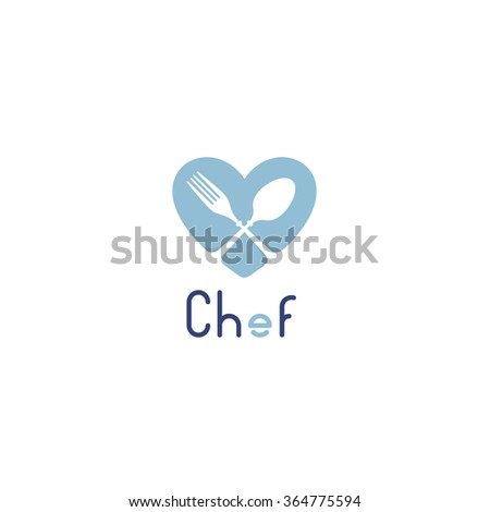 Isolated vector logo for catering business. Restaurant emblem. Blue and white colors. Valentines Day greeting card for chef. Table setting. Fork and spon icon. Cafe logotype. Heart image. Food Drink - stock vector