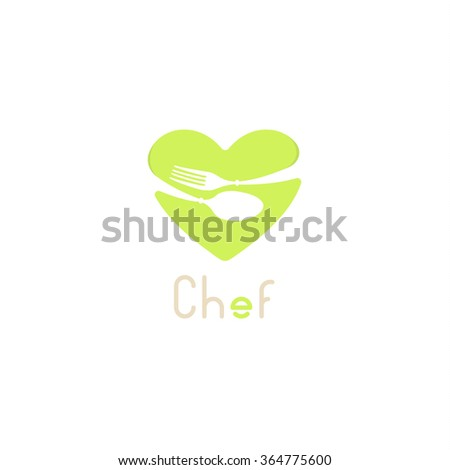 Isolated vector logo for catering business. Restaurant emblem. Light green colors. Valentines Day greeting card for chef.Table setting.Fork and spon icon. Cafe logotype. Heart image.Chef logo.Che icon - stock vector