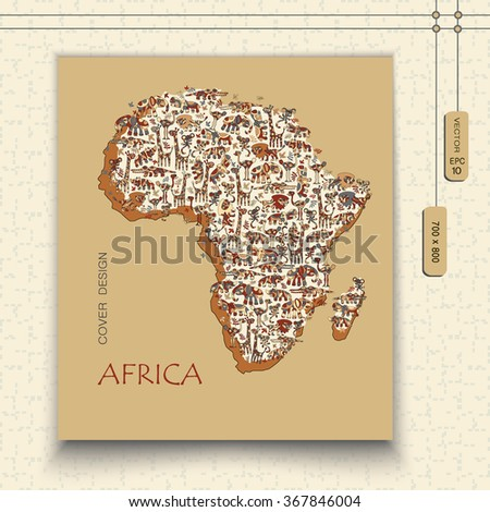 Isolated vector map of Africa with wild animals savanna. Funny colorful lion, elephant, giraffe, croc, hippo, rhino, ostrich, monkey. EPS10 vector file organized in layers for easy editing.  - stock vector