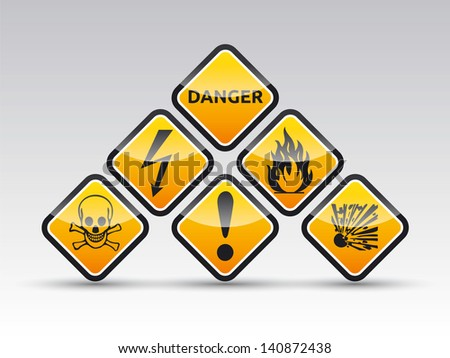 Isolated vector orange Danger sign collection with black border, reflection and shadow on white background - stock vector